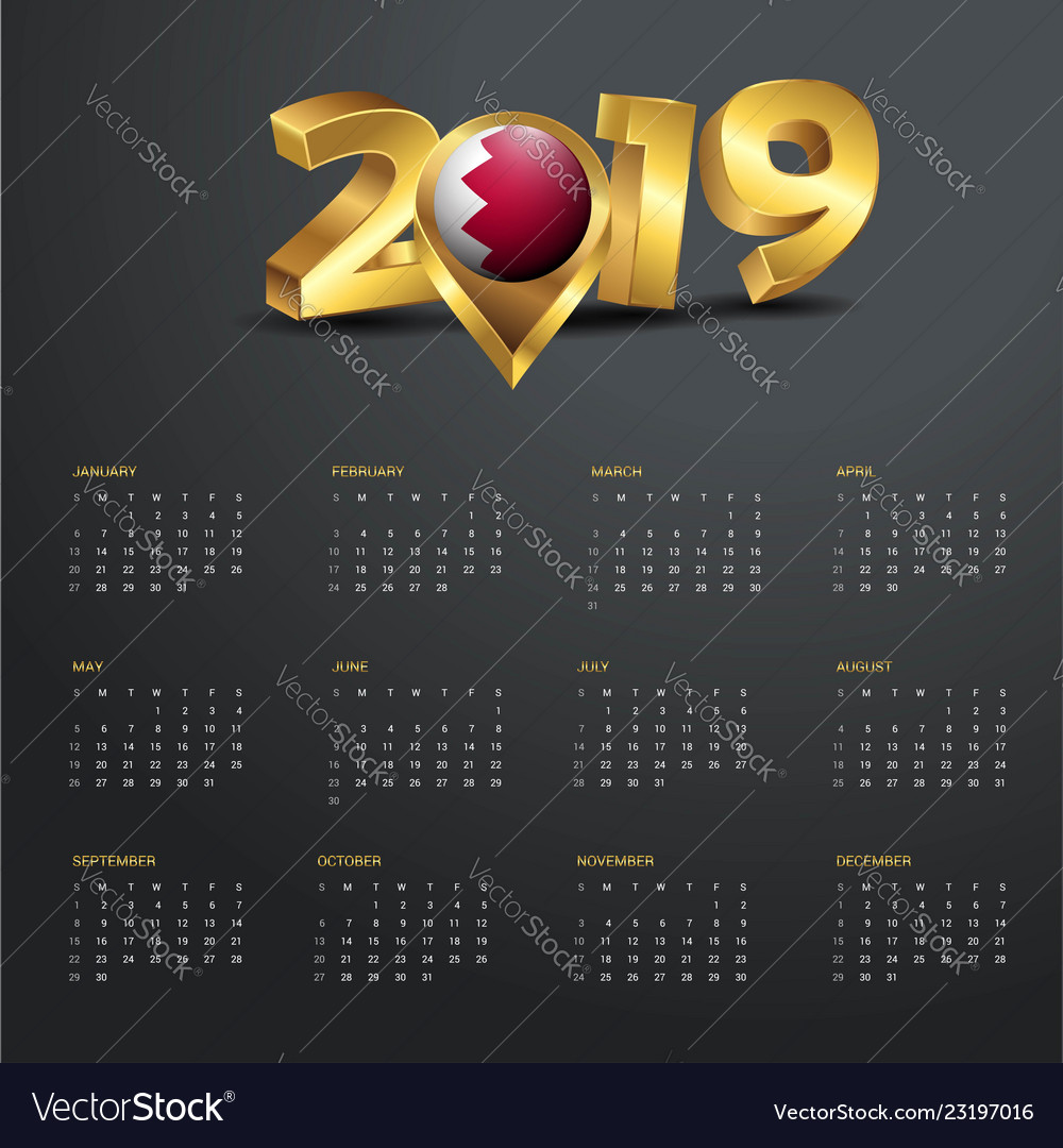 2019 Calendar Template Bahrain Country Map Golden Vector Image