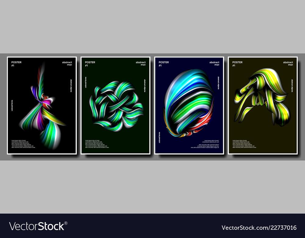 Abstract shape poster set minimal shape
