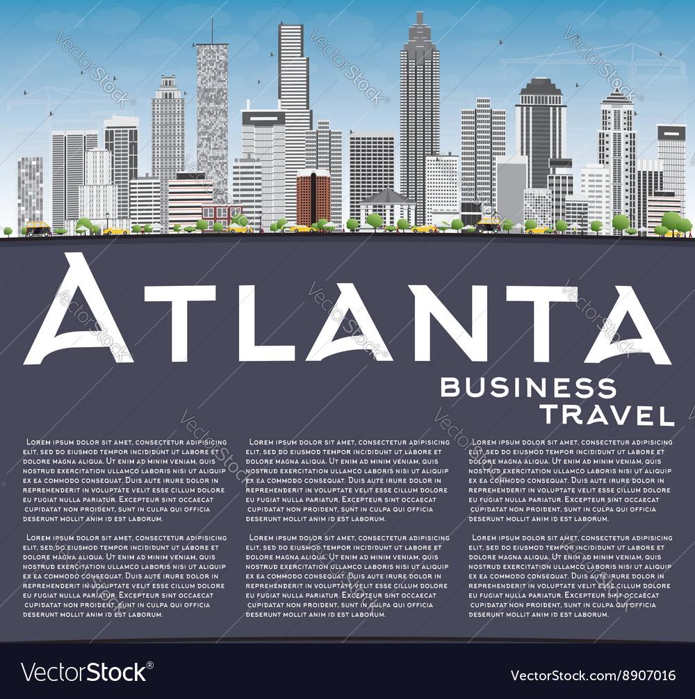 atlanta skyline with gray buildings blue sky vector image