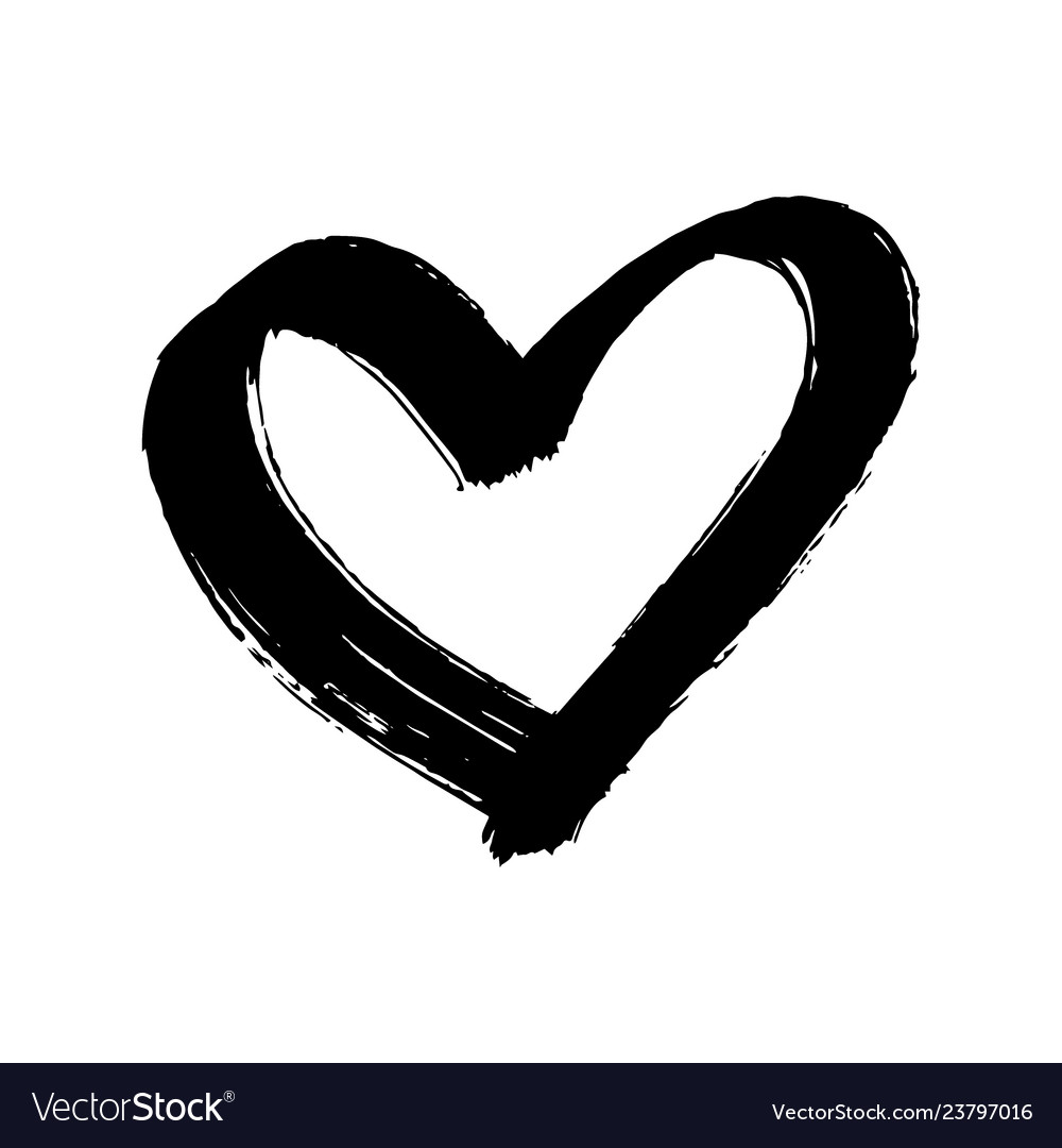 Brush painted heart isolated on a white background