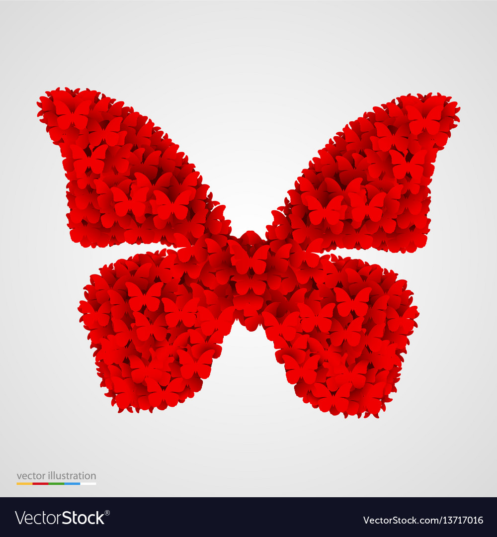 Butterfly made of small butterflyes vector image