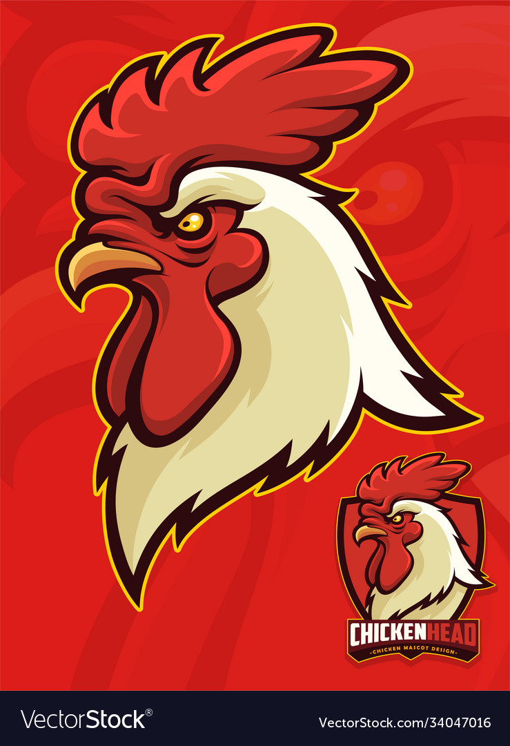 Chicken head mascot for sports or university