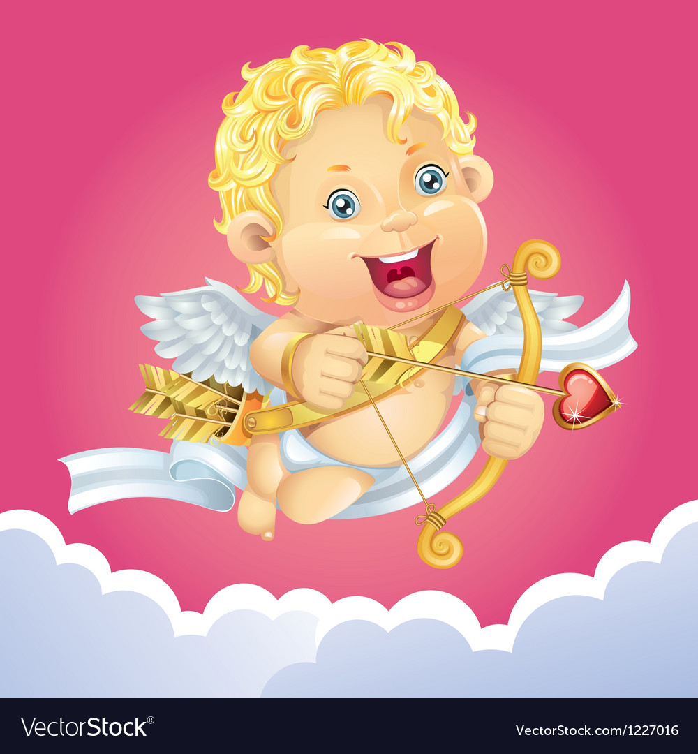 Cupid flying on a cloud