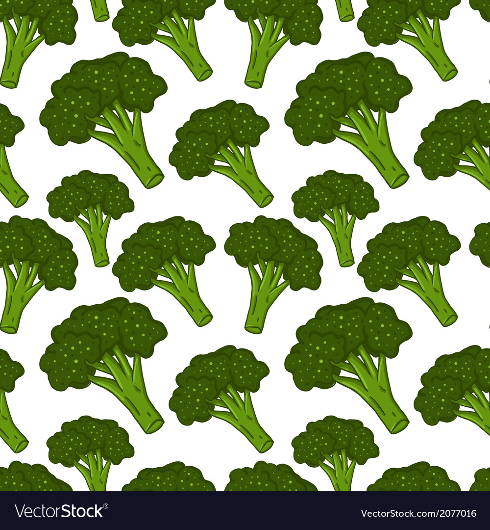 Cute seamless hand drawn broccoli background