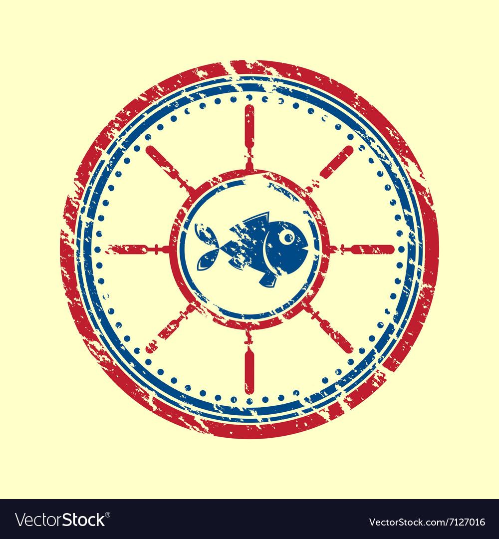 Fish symbol grunge vector image