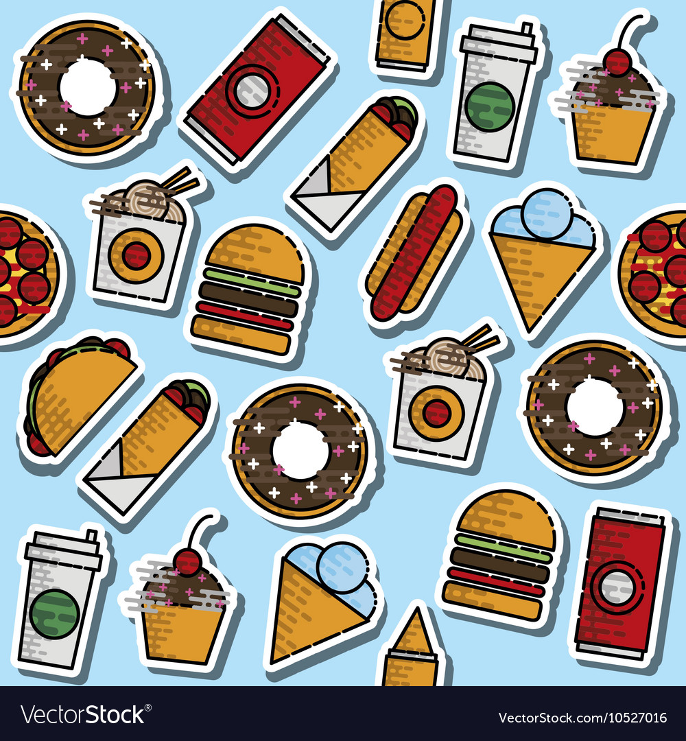 Hand drawn fast food colored pattern