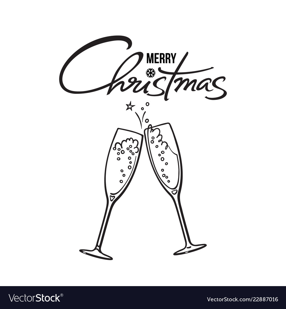 Merry christmas text two glasses of champagne