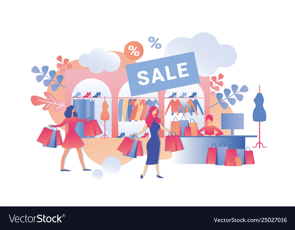 Sale fashion clothes in womens store cartoon