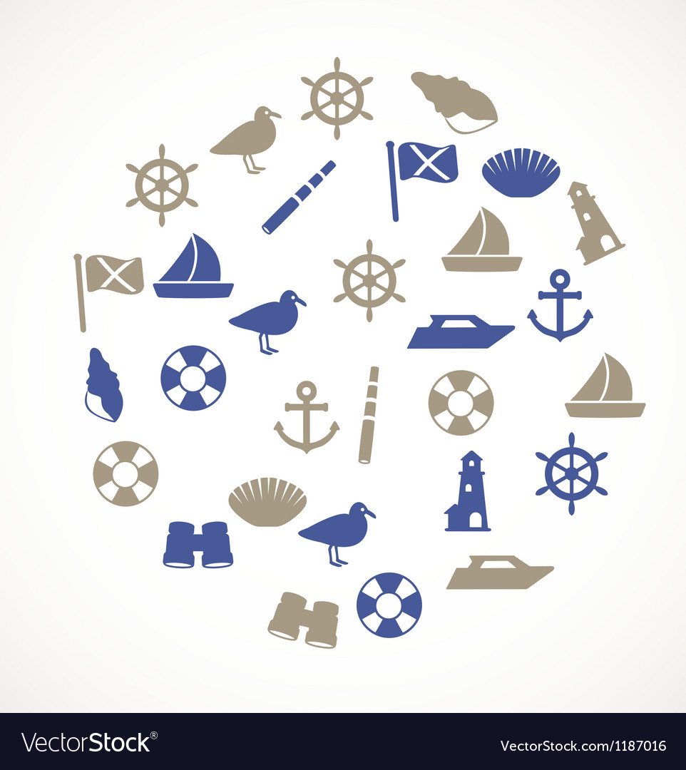 Seaside icons vector image