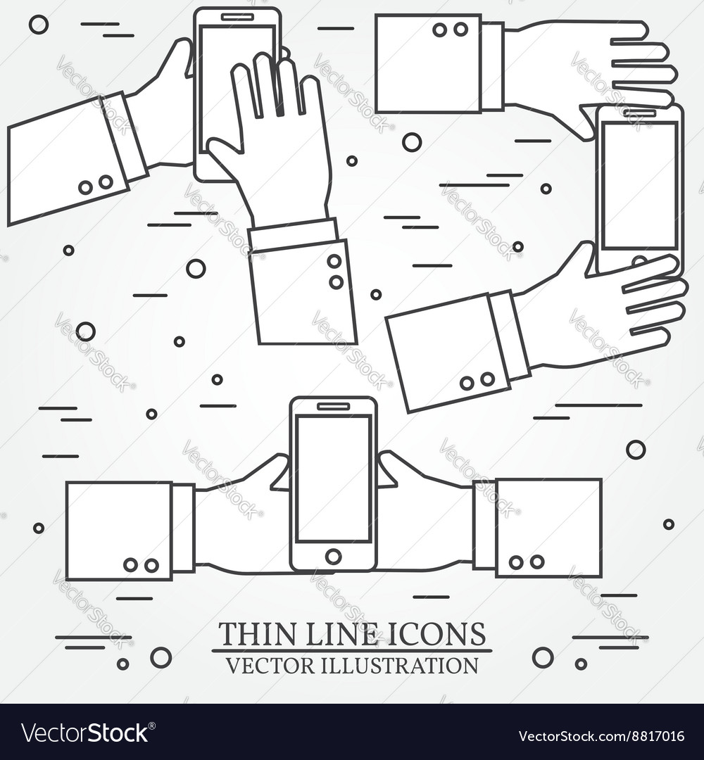 Set of hands holding mobile phoneThin line icon