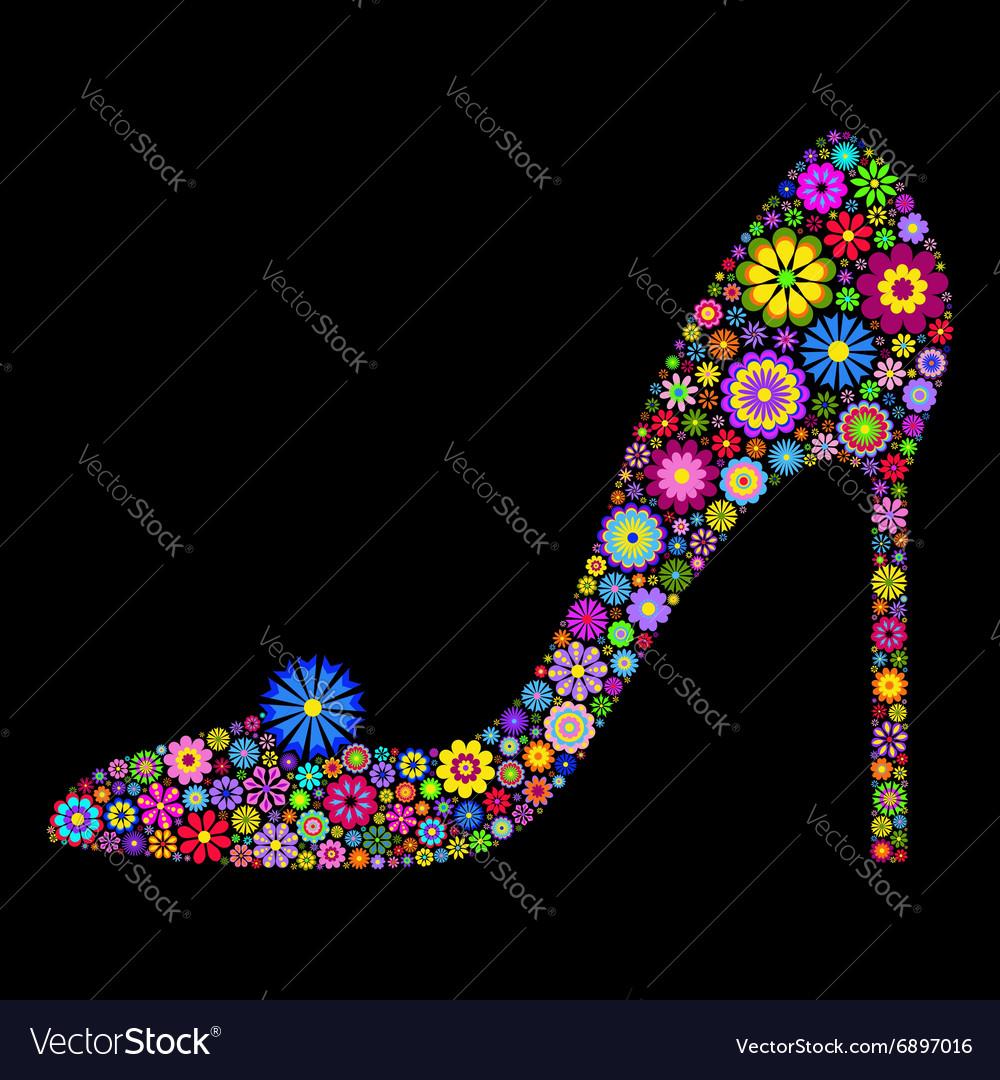Shoe on black background
