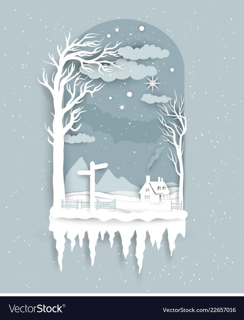 Winter night paper cut