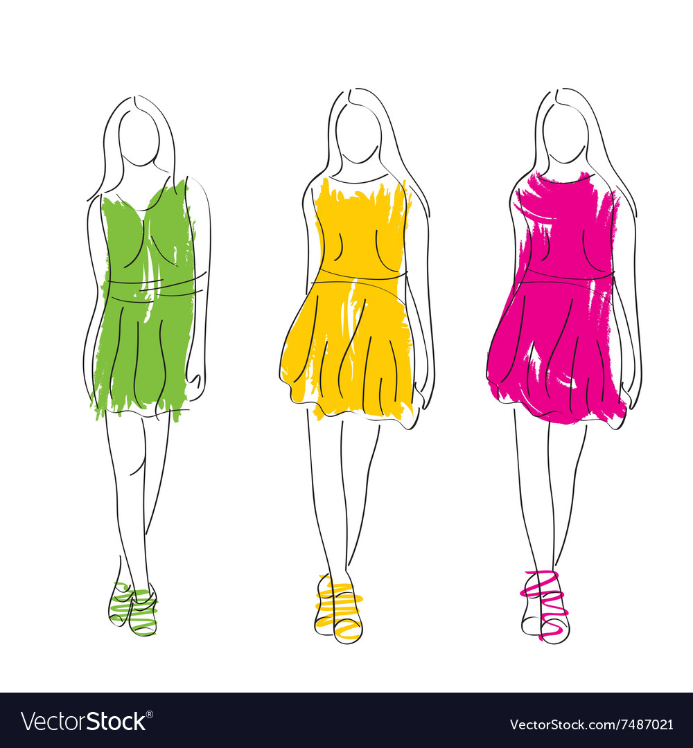 Abstract fashion lady sketch or design vector image