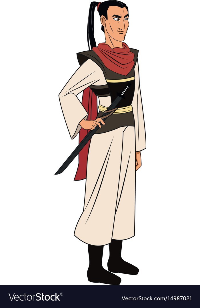 Animation asian man long hair to ancient clothes