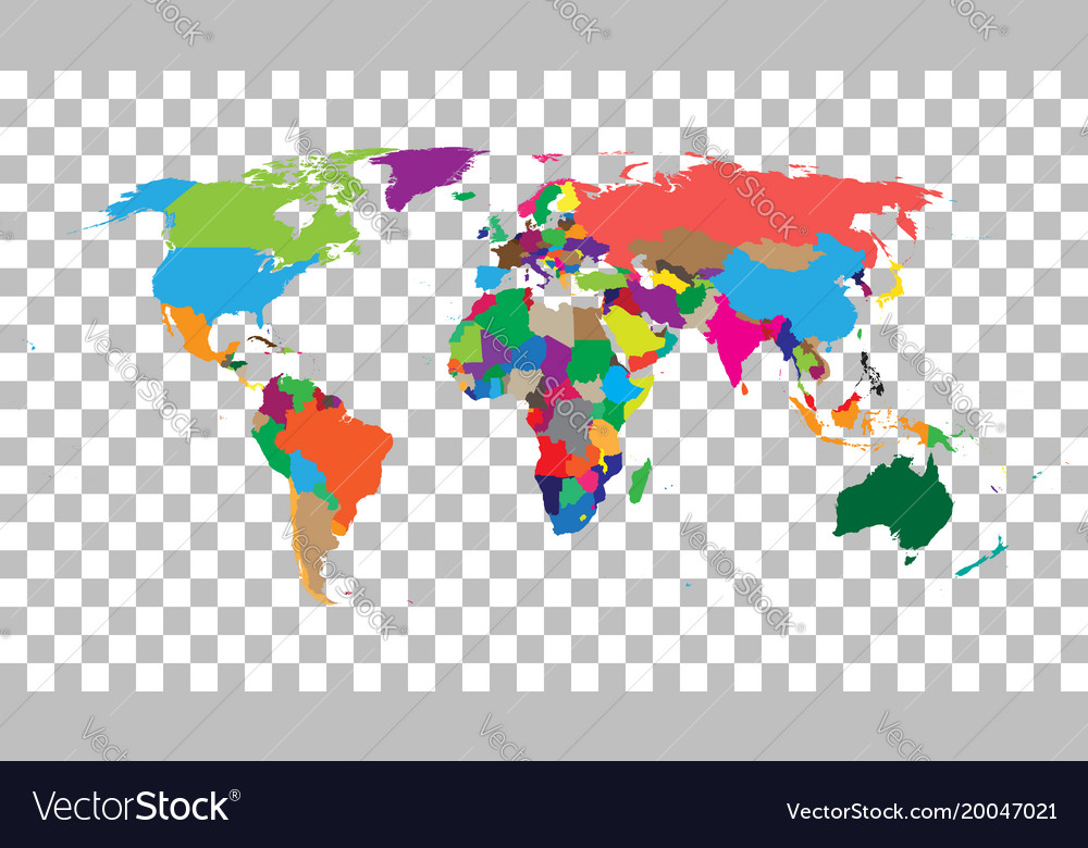 Blank colorful world map on isolated background vector image gumiabroncs Gallery