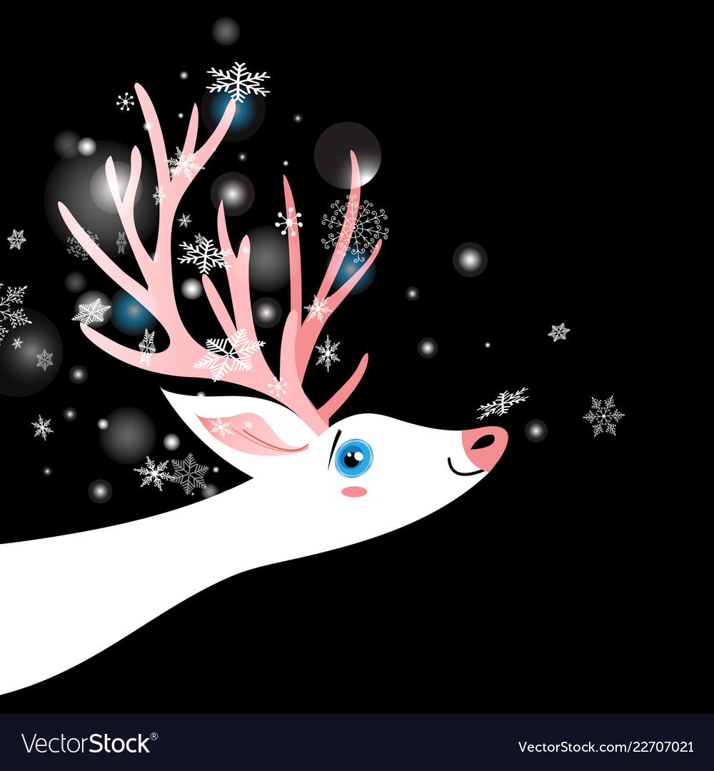 Postcard White Deer