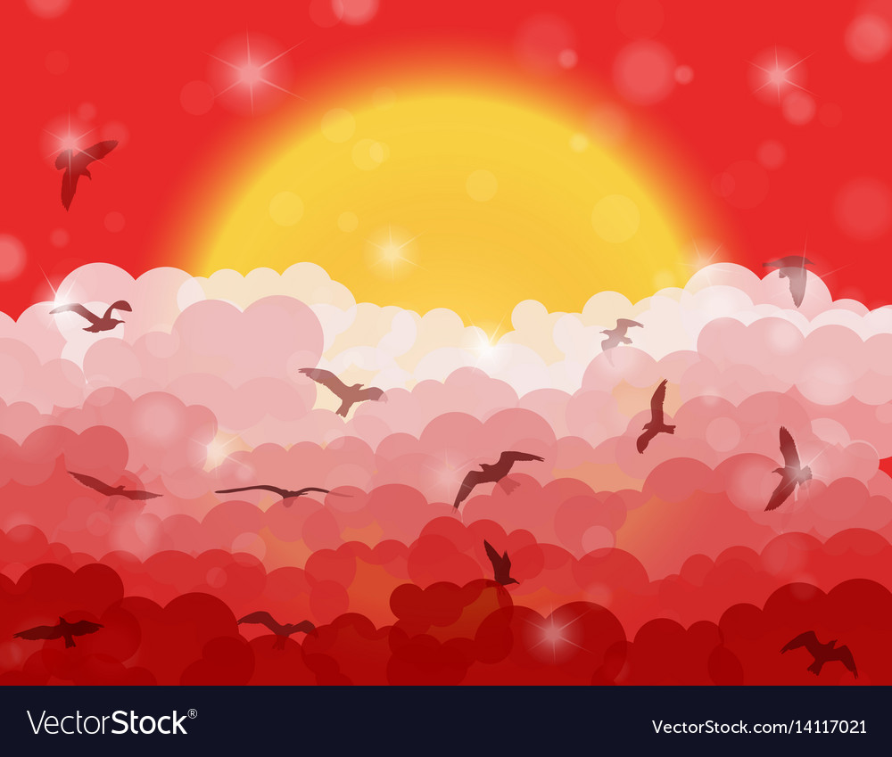 Cartoon flying birds in clouds on sun and red vector image