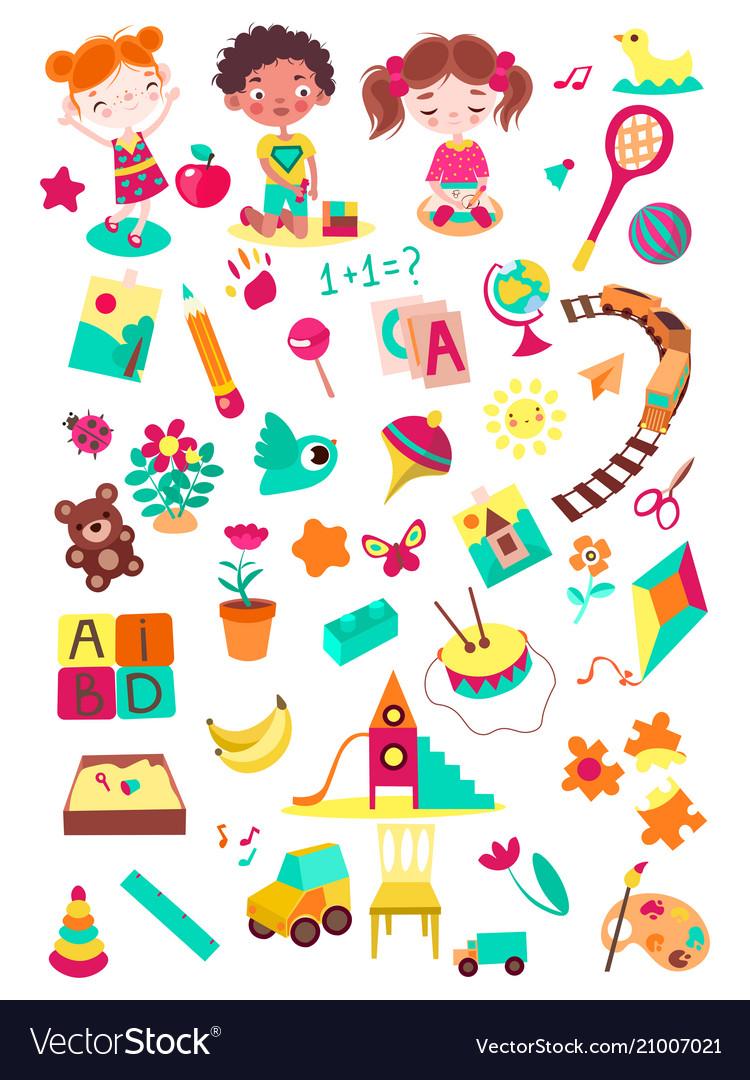 Cartoon kindergarten elements