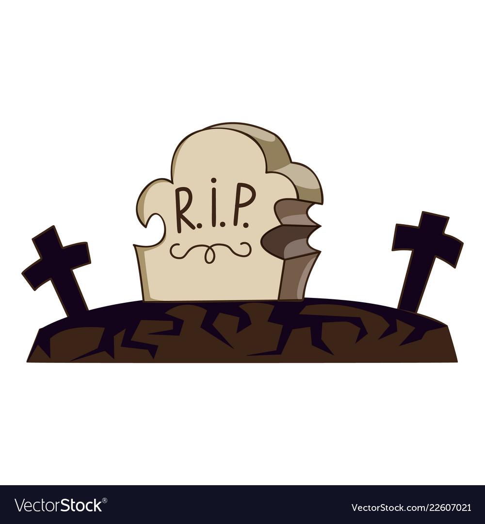 Cemetery grave icon cartoon style