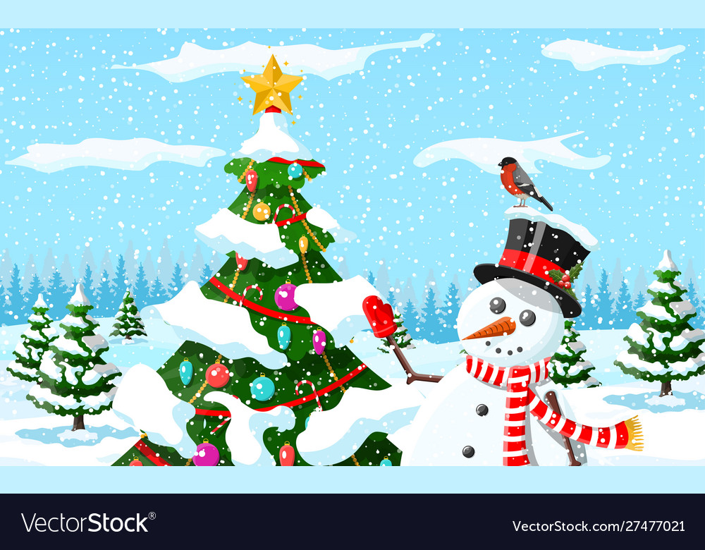 Christmas background snowman with fir tree