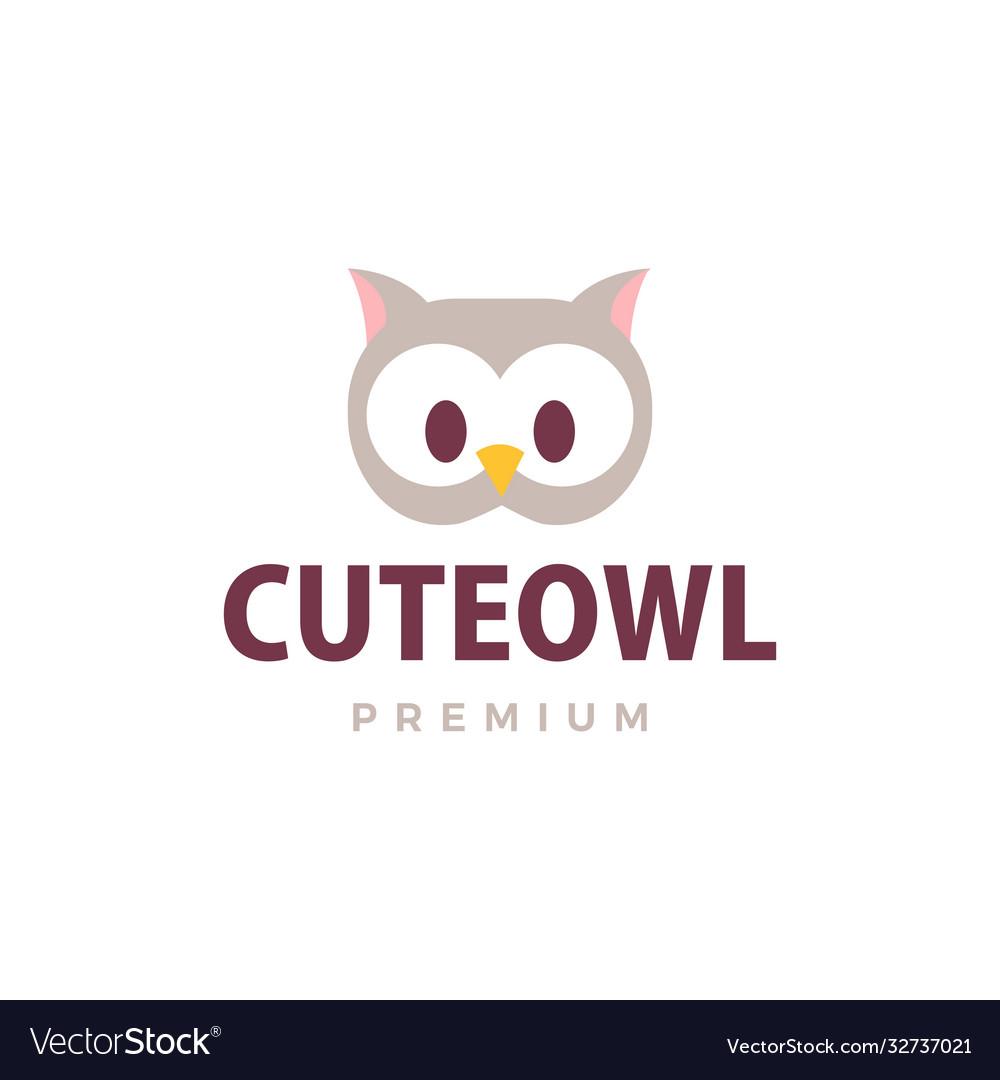 Cute owl flat logo icon