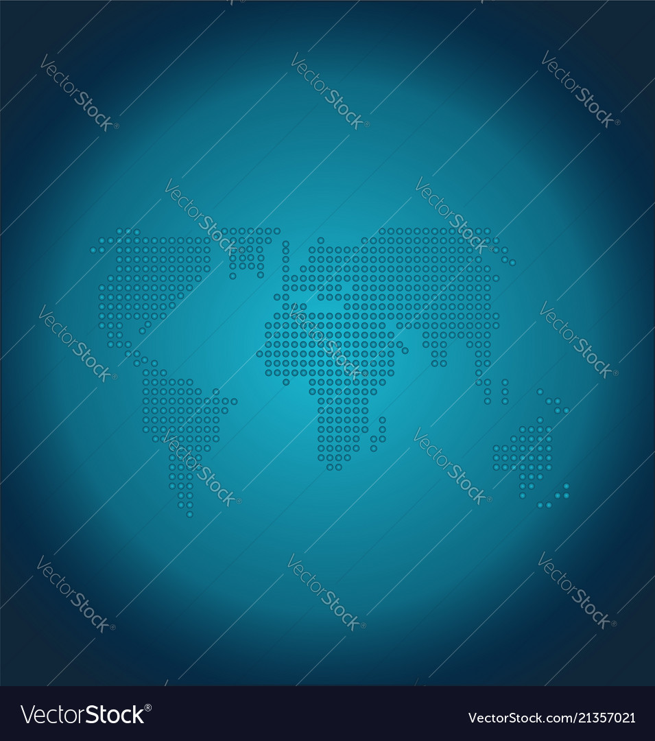 Dots world map globe background vector image