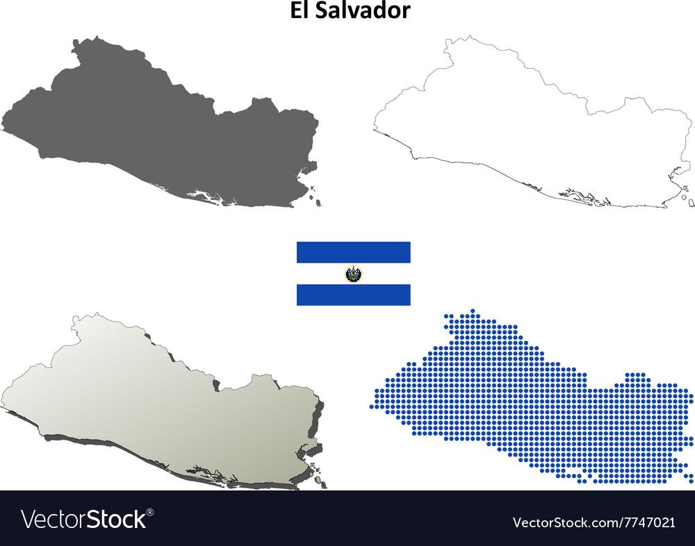 El Salvador outline map set Royalty Free Vector Image