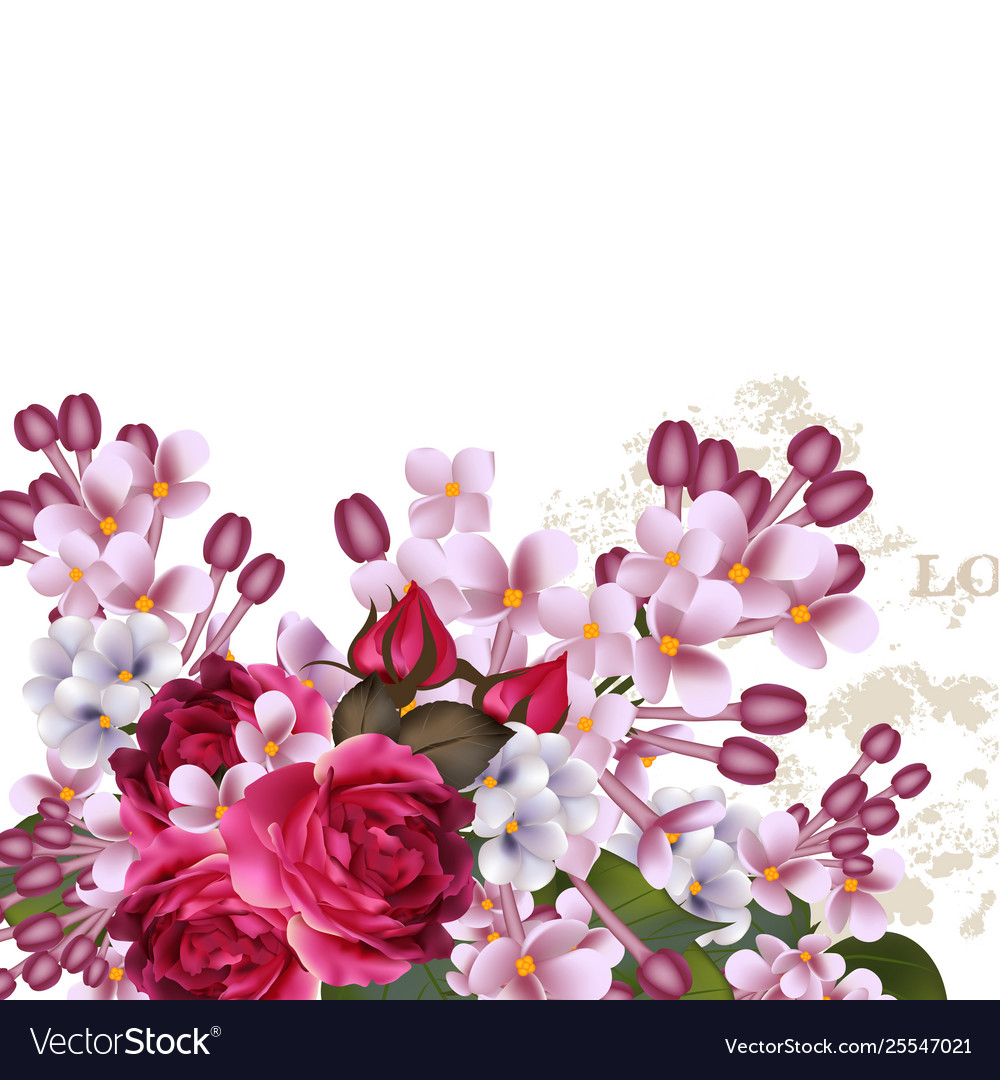 Floral background with lilac flowers and roses
