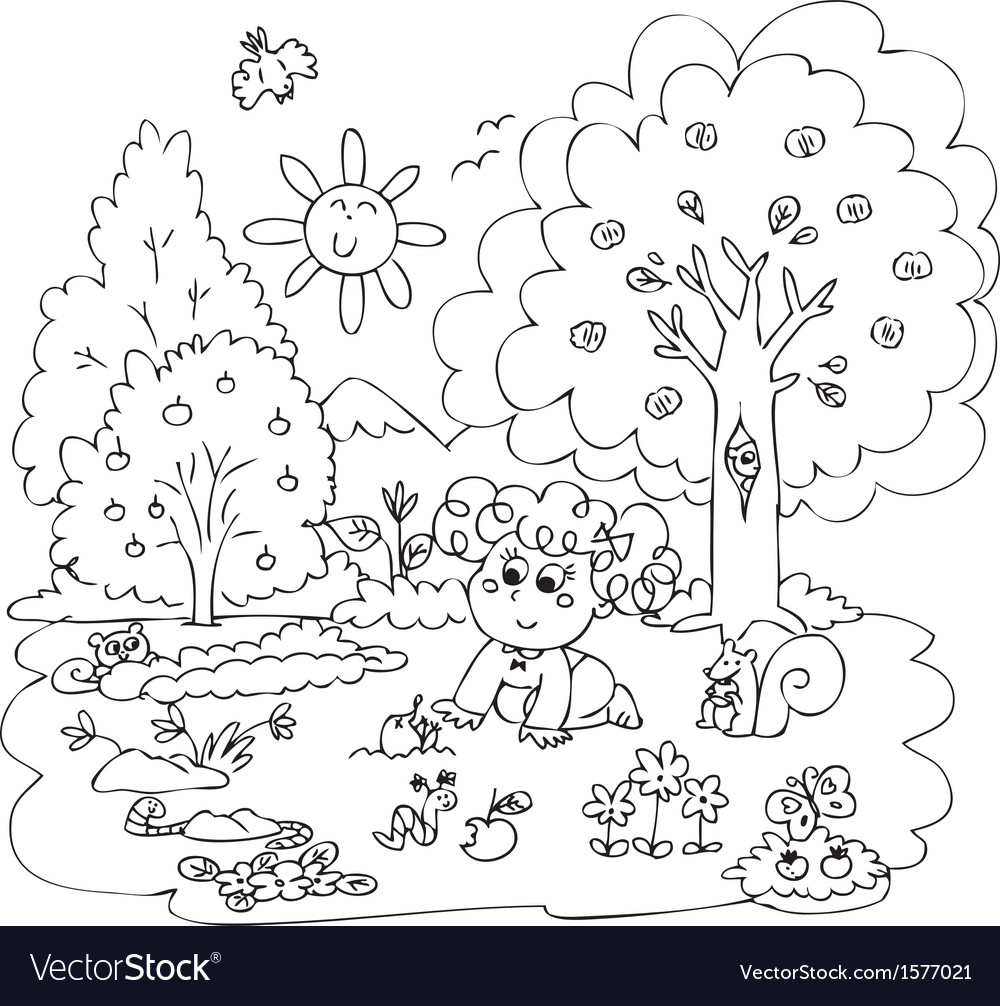 Girl playing with little animals vector image