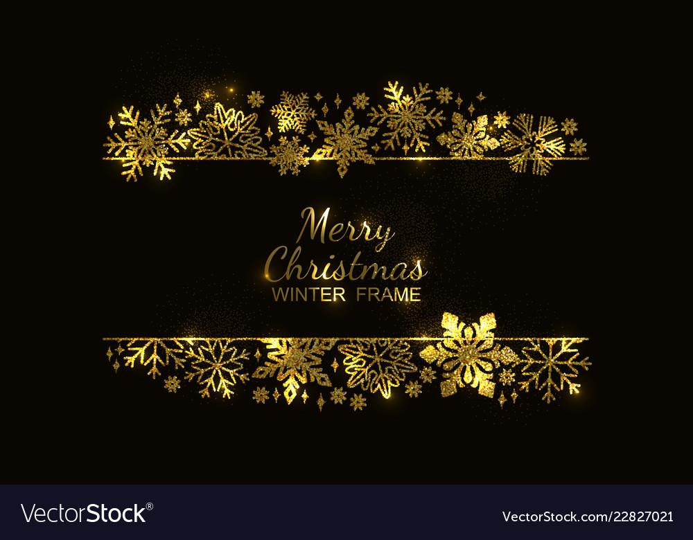Christmas Invitation Background Gold.Gold Snowflake Frame Black Background Xmas