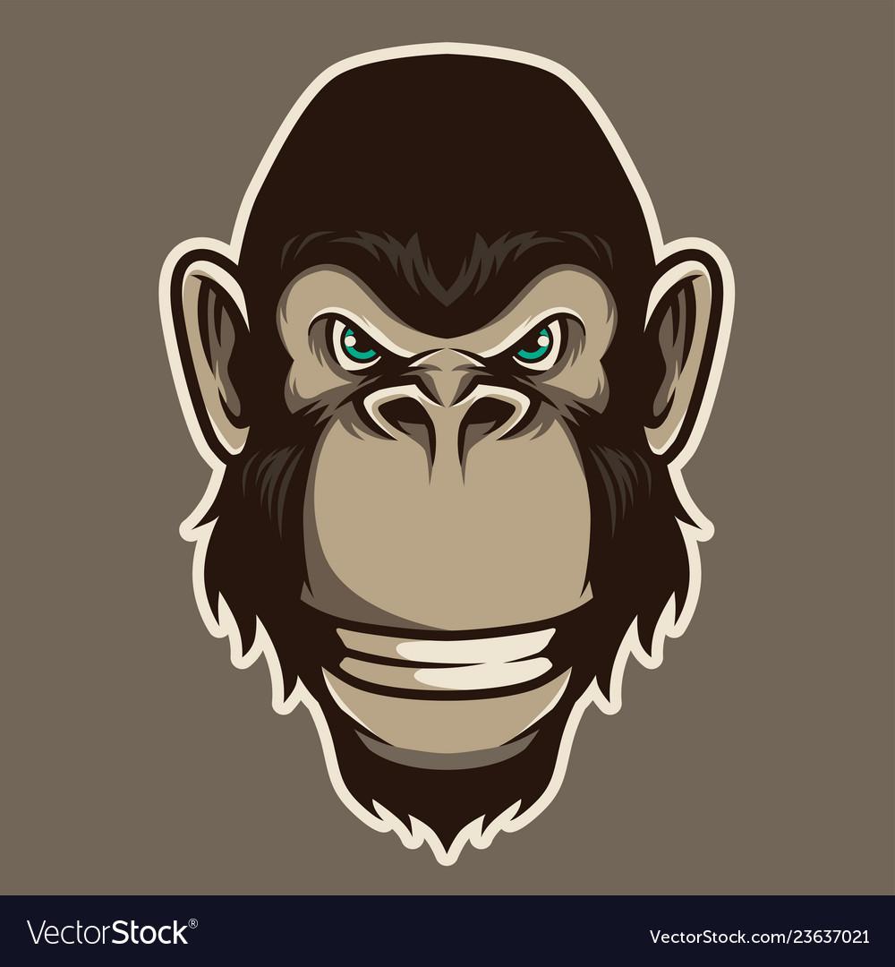Gorilla head mascot in cartoon style
