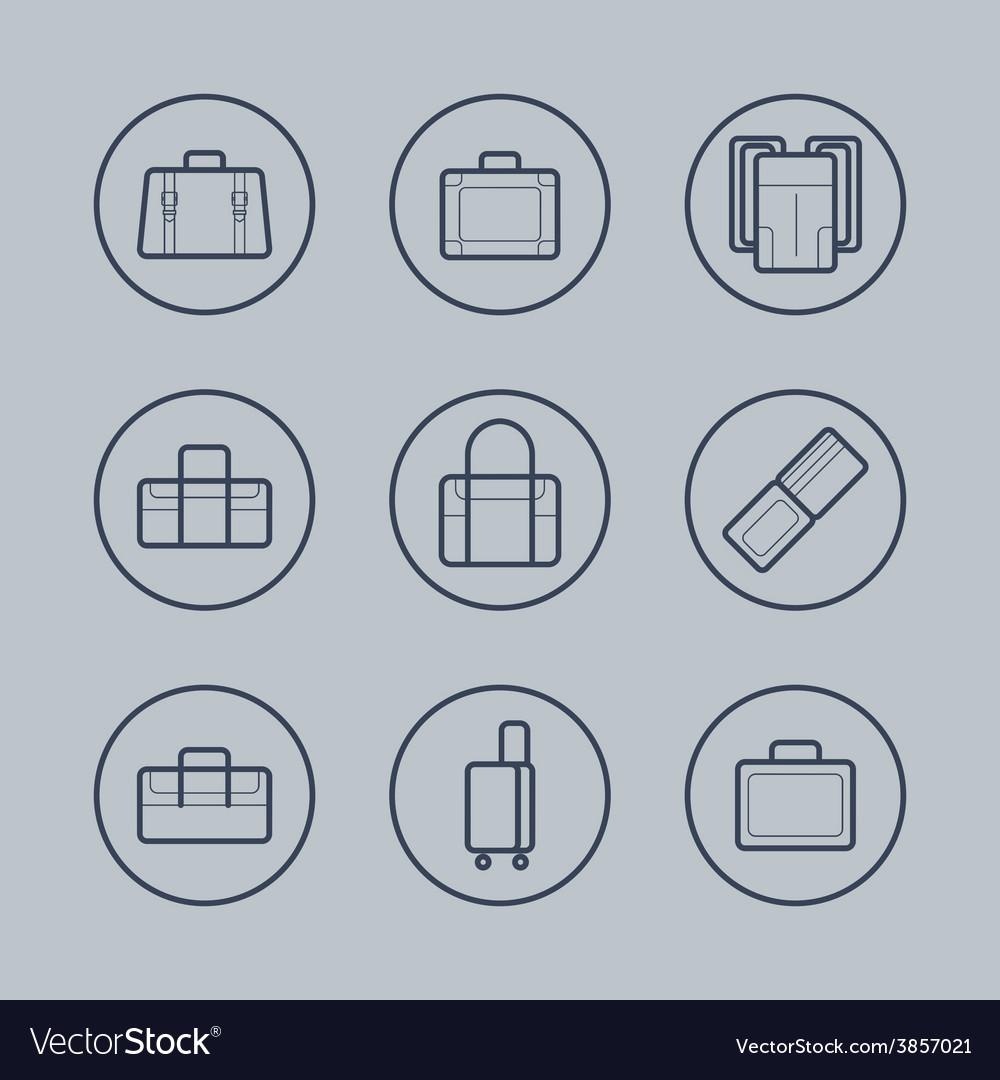 Luggage Flat design thin line icons set