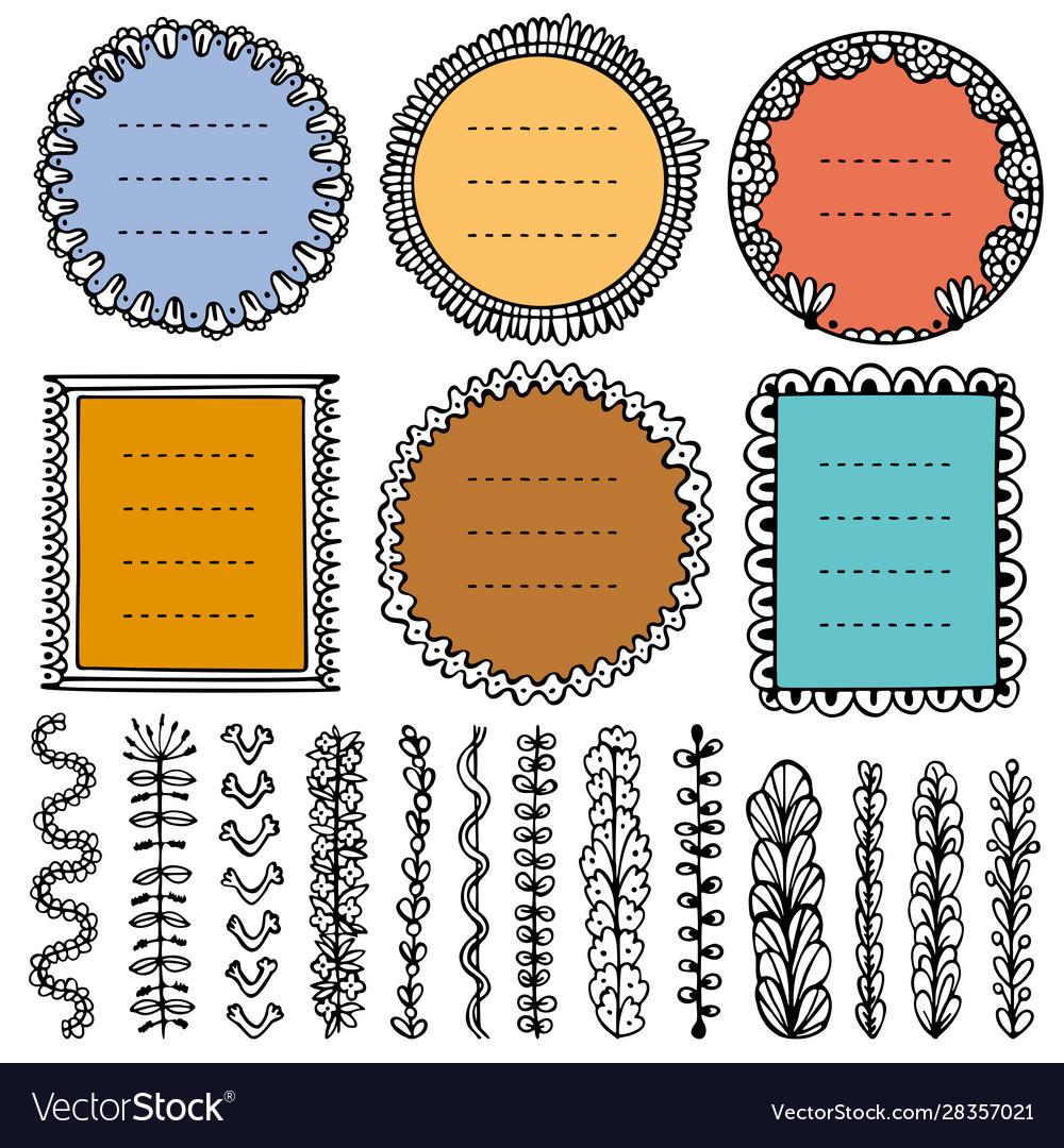 Set doodle frames vignettes and dividers