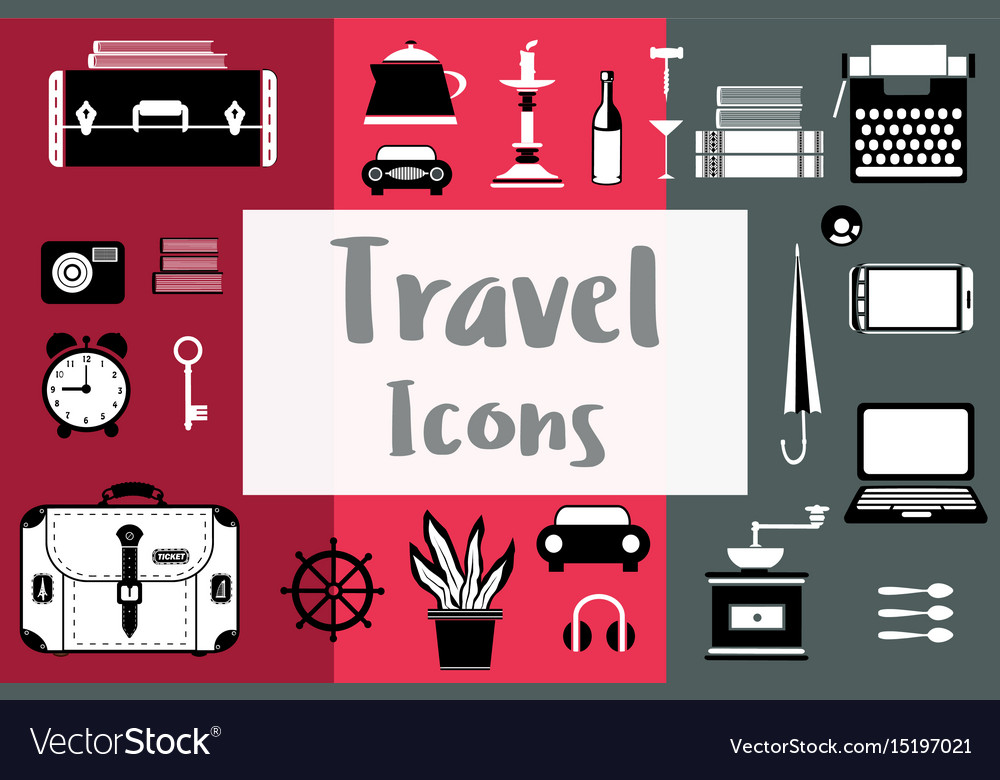 Set of flat travel icons in a flat style with a
