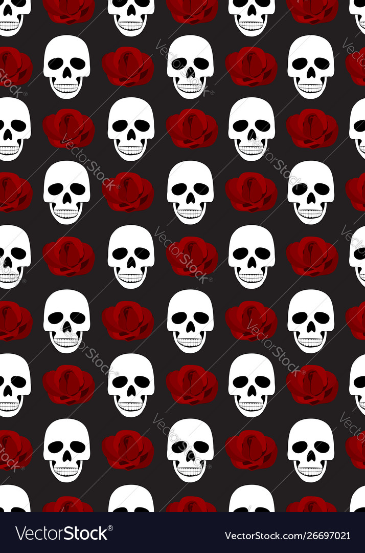 Skull and roses seamless pattern on black