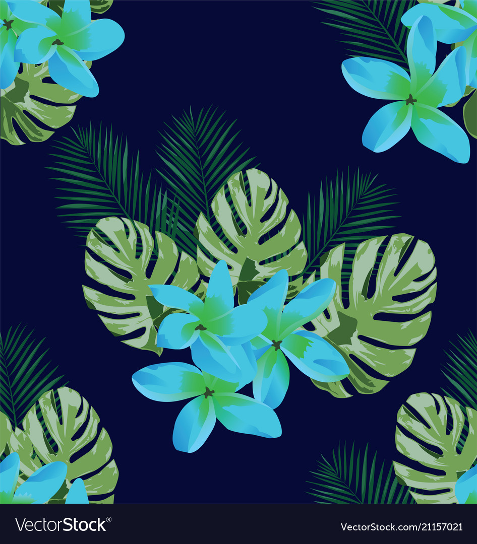 Tropical flowers seamless background