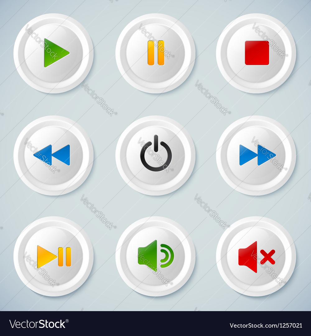 White plastic navigation buttons