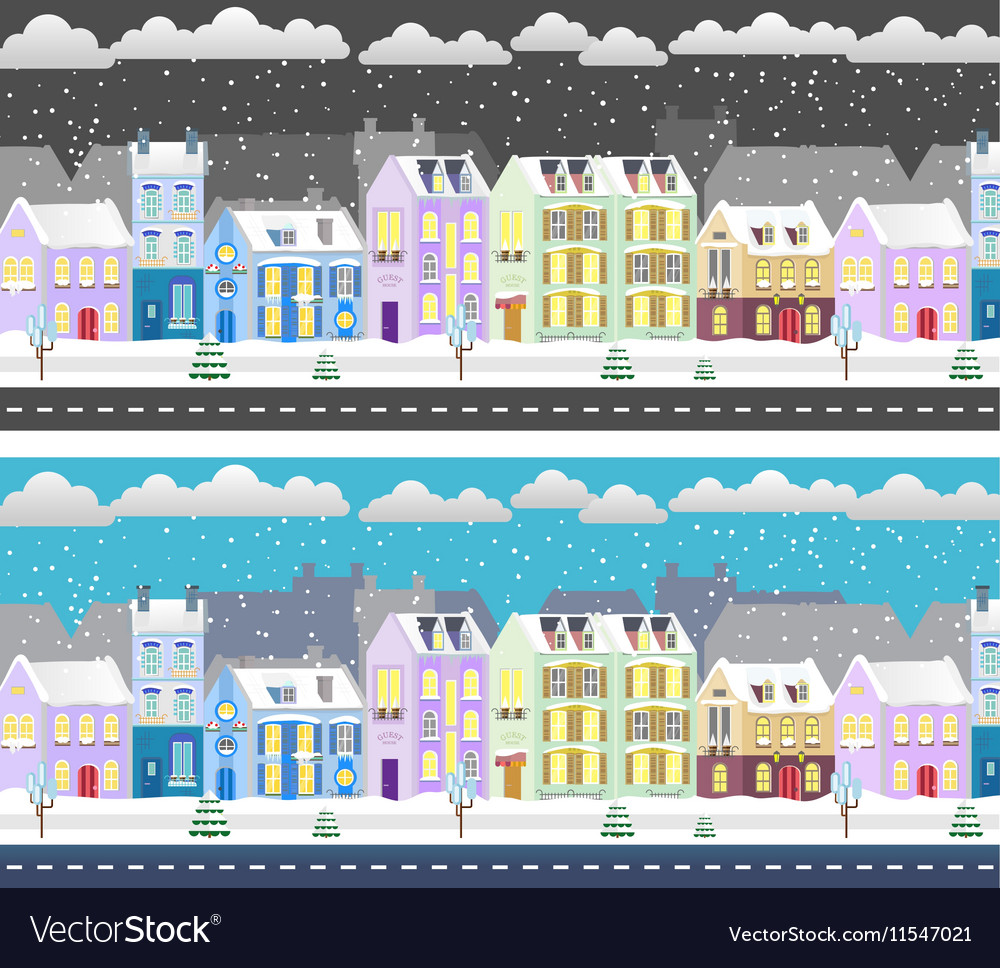 Winter flat design urban landscape