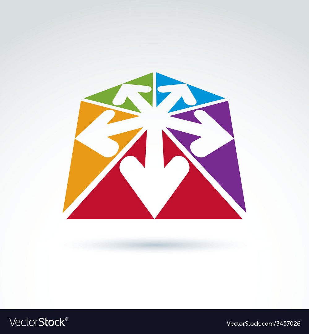 3d Abstract Emblem With Multidirectional Arrows In