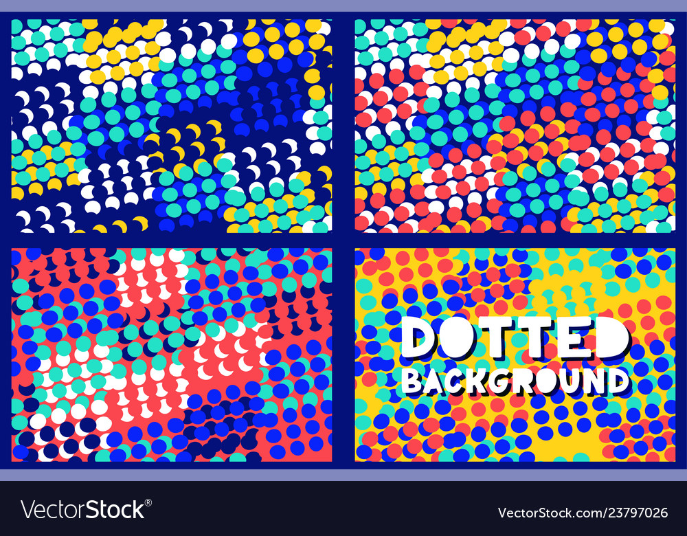Abstract geometric dotted pattern background set
