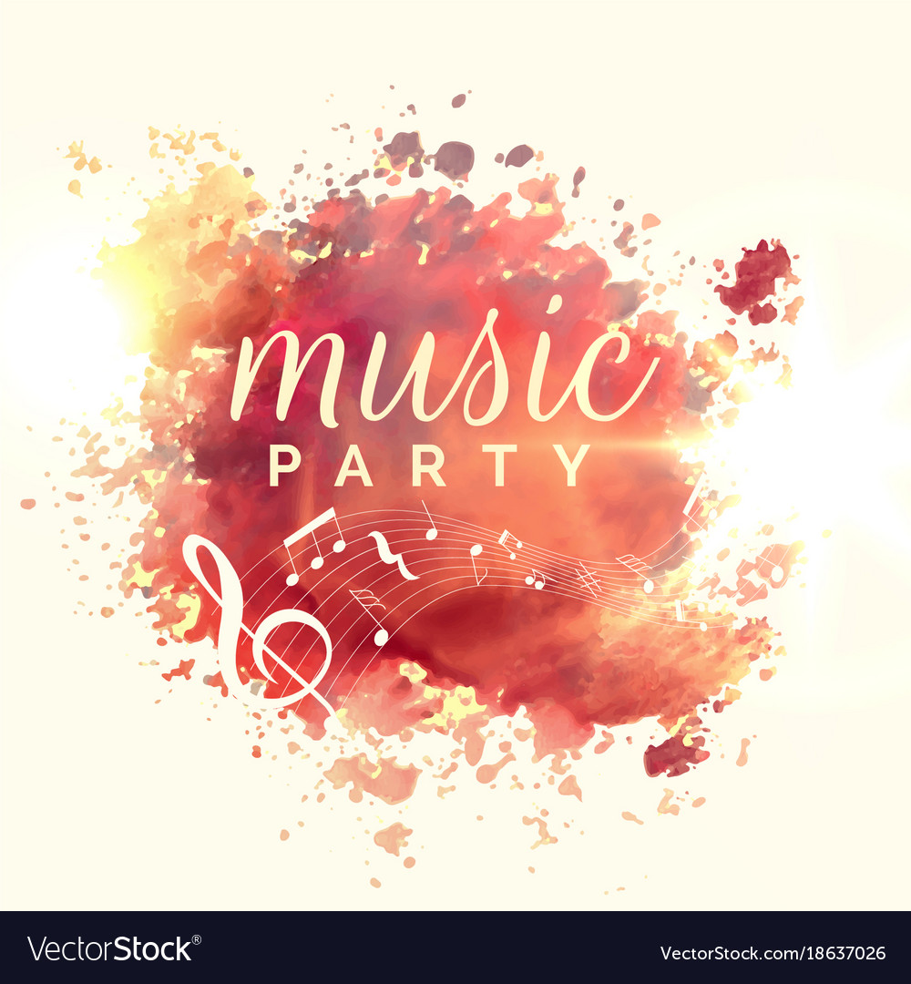 Abstract music party watercolor event template