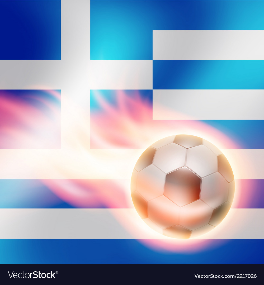 Burning football on Greece flag background vector image