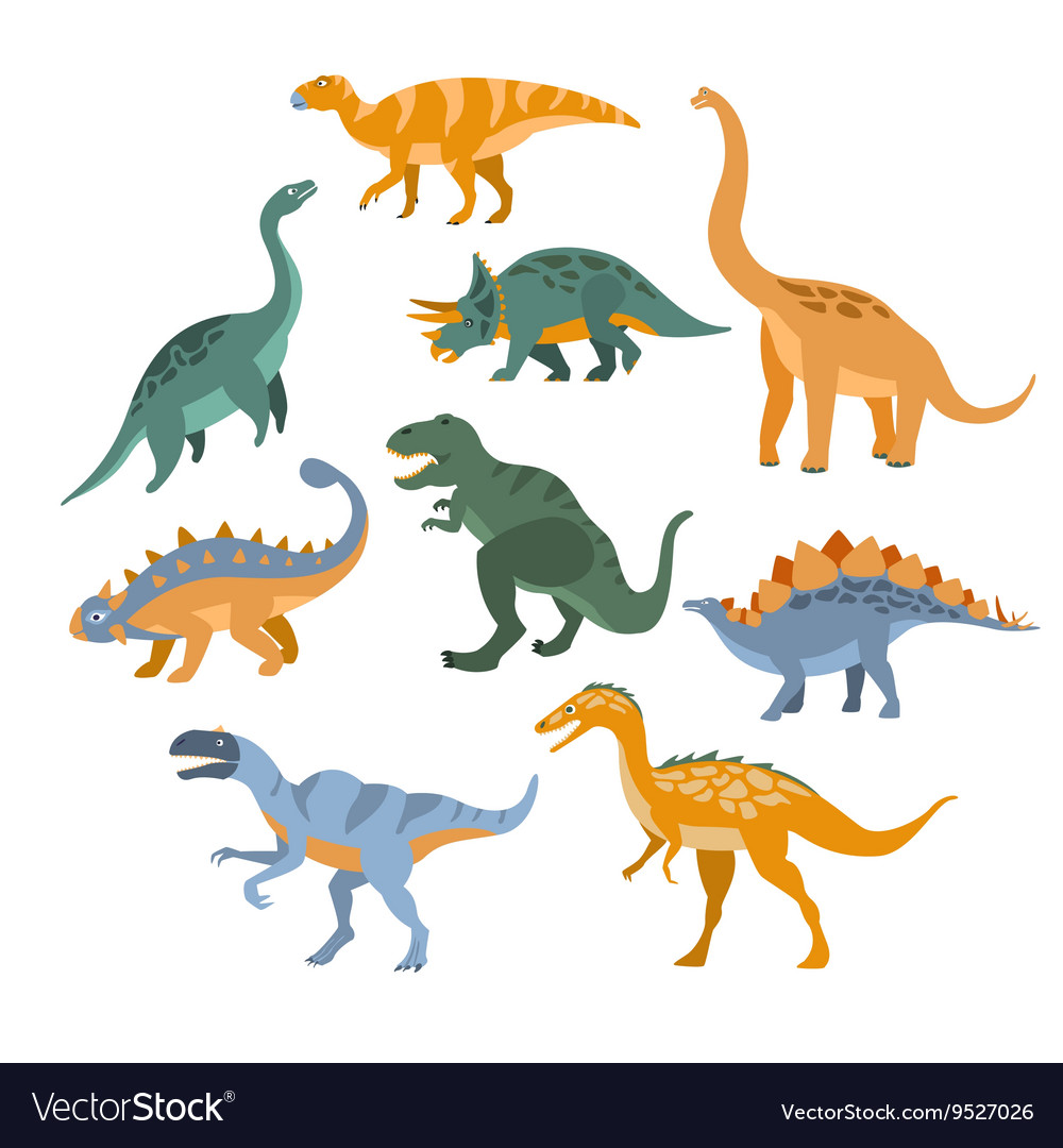Different Species Of Dinosaurs Set vector image