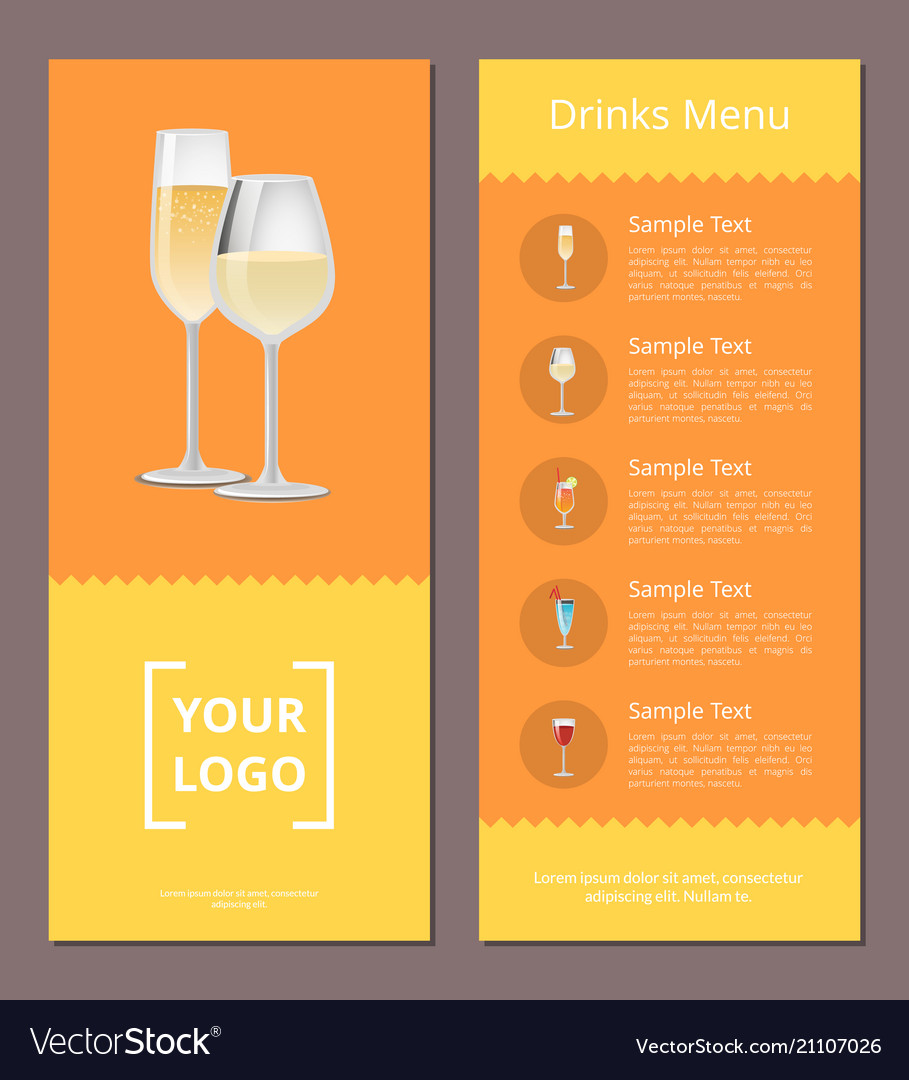 Drinks menu advertisement poster with champagne