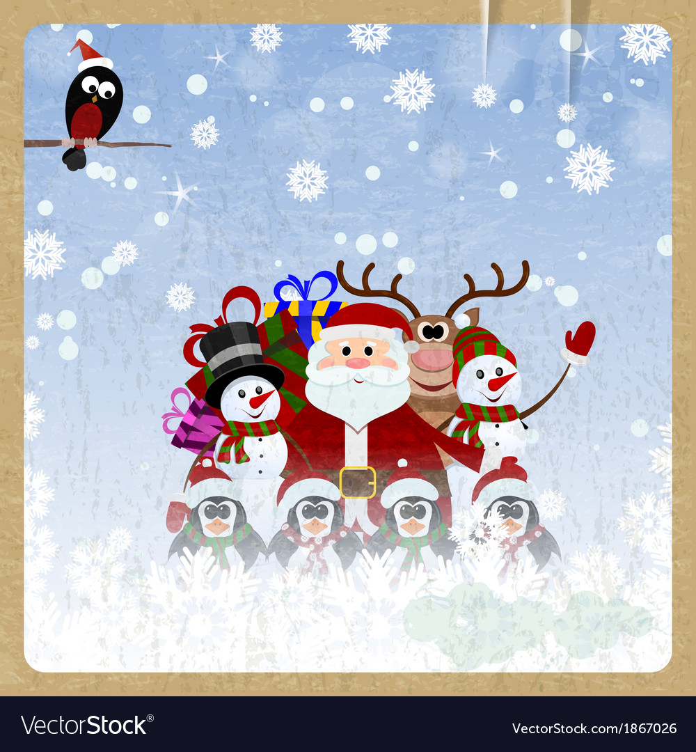 Greeting Christmas card with Santa Claus