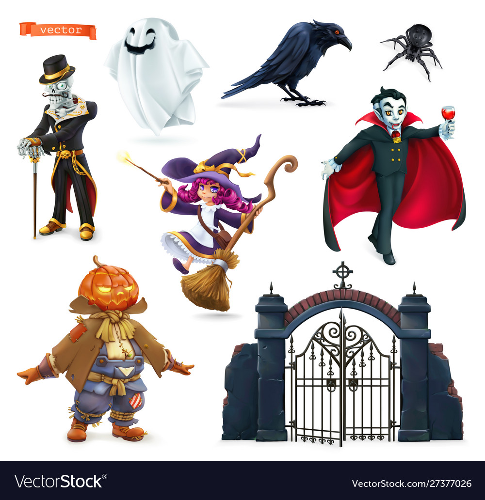 Happy halloween characters and objects 3d set