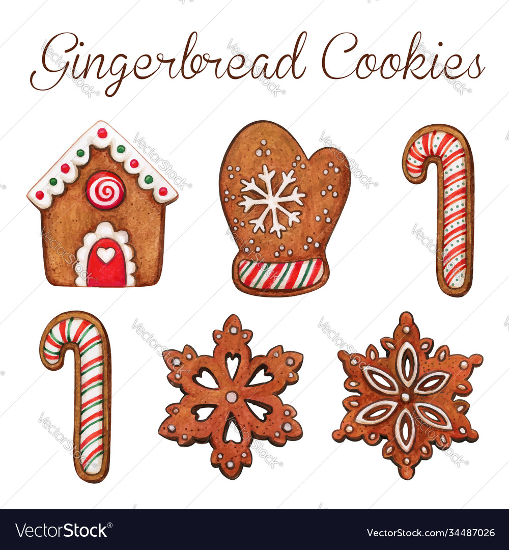 High quality watercolor gingerbread cookies