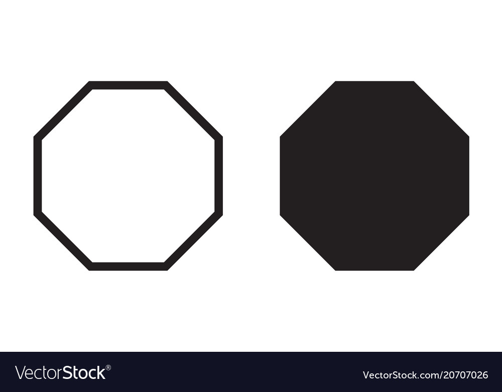 octagon icon geometry octagonal line royalty free vector