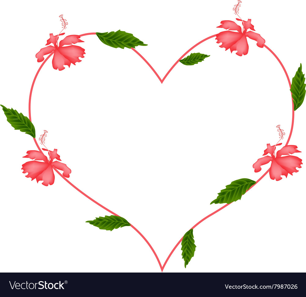 Red hibiscus flowers in a heart shape royalty free vector red hibiscus flowers in a heart shape vector image izmirmasajfo