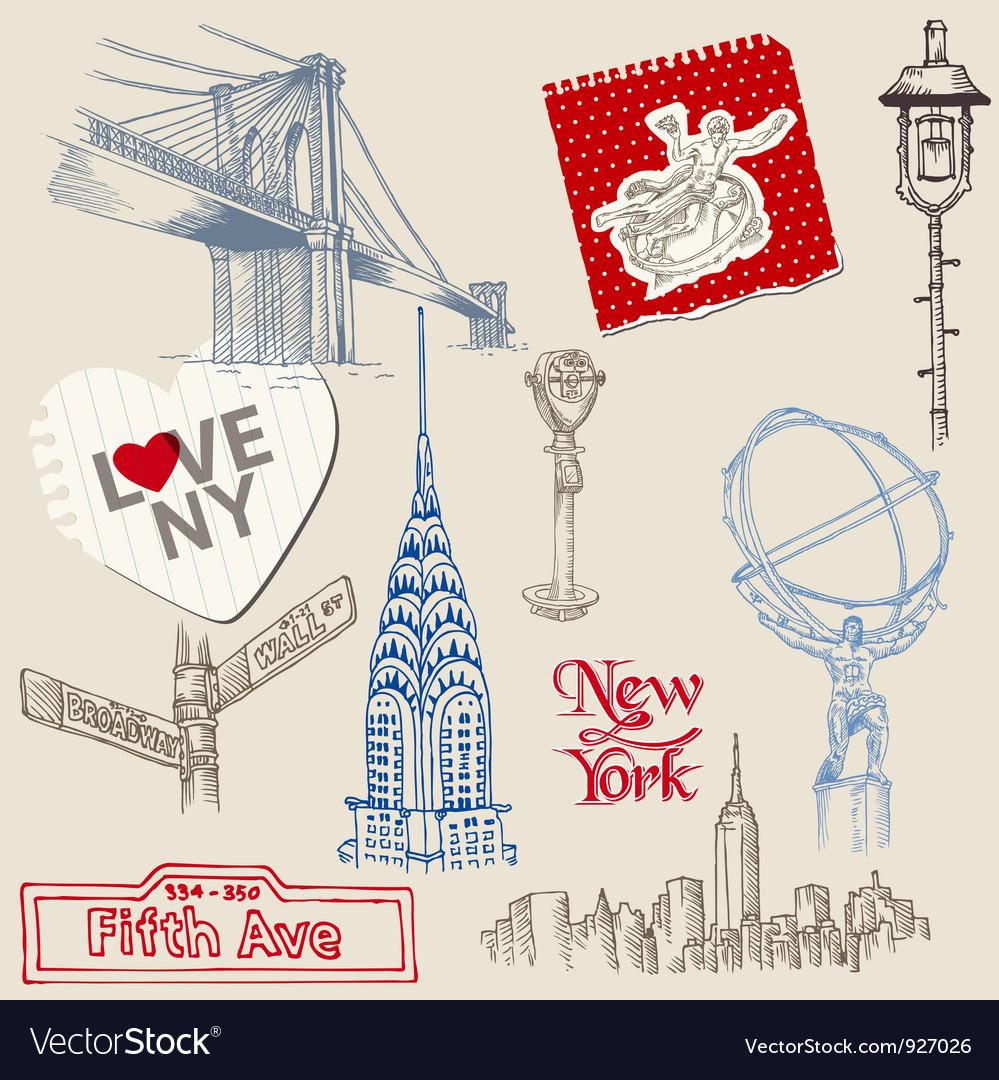 Scrapbook Design Elements - New York Doodle Set
